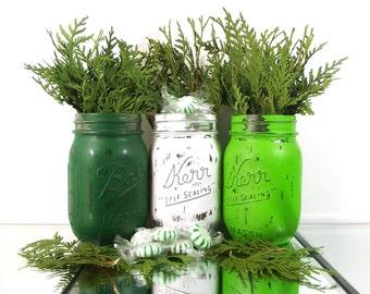 Candy Jar, Rustic Christmas Decor, Painted Mason Jars, Christmas Mantle, Winter Decor, Green Mason Jars, Christmas Table Decor