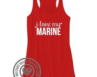 I love my Marine Racerback Tank Top, marine girlfriend shirt, marine wife shirt, marine mom shirt, marine workout tank, marine clothing gift