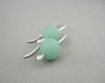 Pale Green Earrings - Aventurine and Sterling Silver Earrings