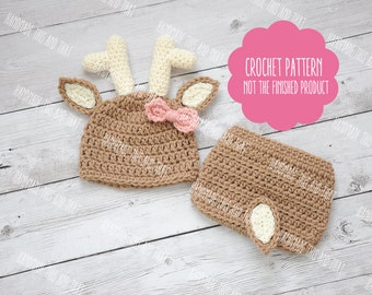 CROCHET PATTERN - Newborn deer hat and diaper cover, newborn deer outfit, crochet baby pattern, photo prop set pattern