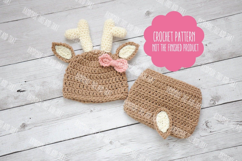 Crochet Baby Deer Pattern : CROCHET PATTERN Newborn deer hat and diaper cover newborn