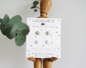 Couple of stars stud earrings in gold and whiteleather { women jewelry french poetic finesse