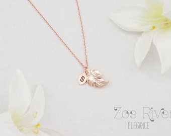 Rose gold personalized initial leaf necklace. Custom engraved necklace. Elegant and dainty pendant