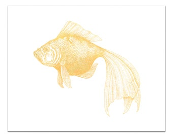 Bubbles the Goldfish Print, Gold Foil Goldfish Art, Nautical Decor, Gold Decor, Fish Print, Fish Wall Art, Gold Foil Print, Fish Decor