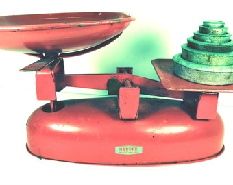 Vintage Scale Rustic Red Retro Counter Scale Kitchen Scale 1950's Cottage Home Decor