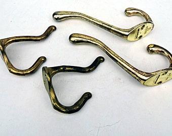 Brass Coat Hooks Hat Rack Vintage Rustic Nautical Coat Hangers 2 Large 2 Small