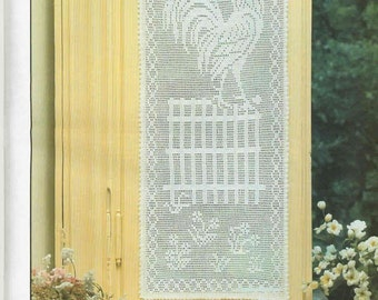 Lace rooster white drapery doily crochet