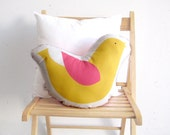Bird pillow Yellow soft toy, stuffed pillow, Decorative cushion, Children pillow, kids toys baby toy, nursery toy, pink room deco, stuffed