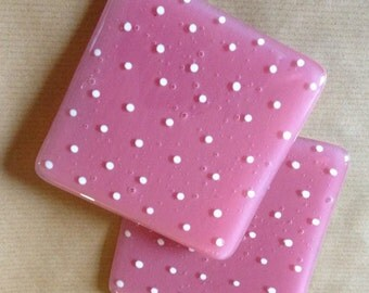 Fused Glass Spotty Coasters