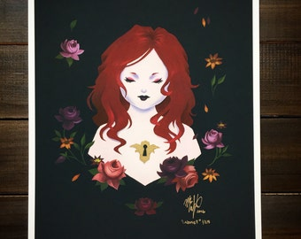 """Ltd edition print, """"Cabinet"""" 8x10 dark floral giclee print, girl with keyhole, flowers, art history inspired, pop surrealism, portrait 1/25"""