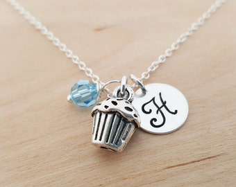 Cupcake Charm Necklace - Baker Necklace -  Swarovski Birthstone - Custom Initial - Personalized Sterling Silver Necklace / Gift for Her