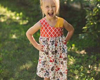 Orange Mustard Fall Animals Dress - Baby Girl Toddler Girl