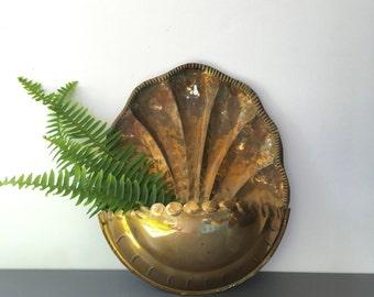 vintage brass wall pocket planter scalloped boho wall decor