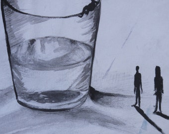 Surreal Illustration of people by water glass