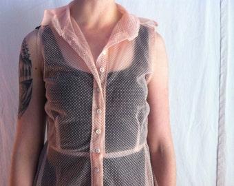 pink sheer button-up dot dress