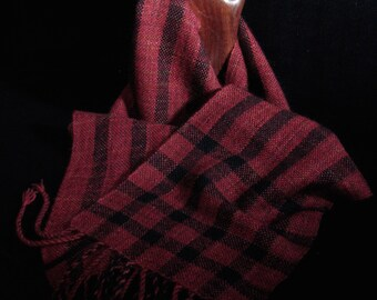 Musk Ox Qiviut, Australian Merino Wool & Silk Scarf - Hand Woven Red Mix with Black Stripes - Handwoven Red and Black Striped Winter Scarf