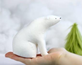 Polar Bear Art / Sitting Bear Soft Sculpture / Felt Polar Bear / Felt Bear