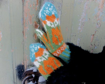 Wool Mittens With Fox, Icelandic Wool Mittens, Wool Women's Mittens, Funny Fox Mittens, warm mittens, Knit Winter Gloves, fox gloves
