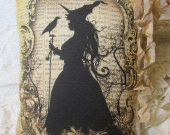 Tea Dyed HALLOWEEN Witch Pillow, Primitive, Script, Shabby WITCH Pillow, Halloween Decor, Shabby Witch!!! # H5