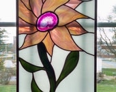 Stained Glass Flower Panel - Sunflower Stained Glass Window - Agate Geode - Purple Pink Gold - Privacy Screen - Nature Decor - Wedding Gift