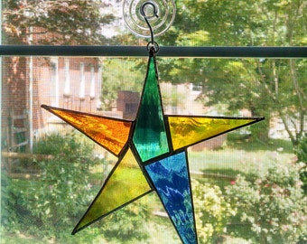Stained Glass Star Suncatcher - Star Ornament - Rainbow Star - Appreciation Gift - Teacher Gift -  Player Award - Employee Recognition