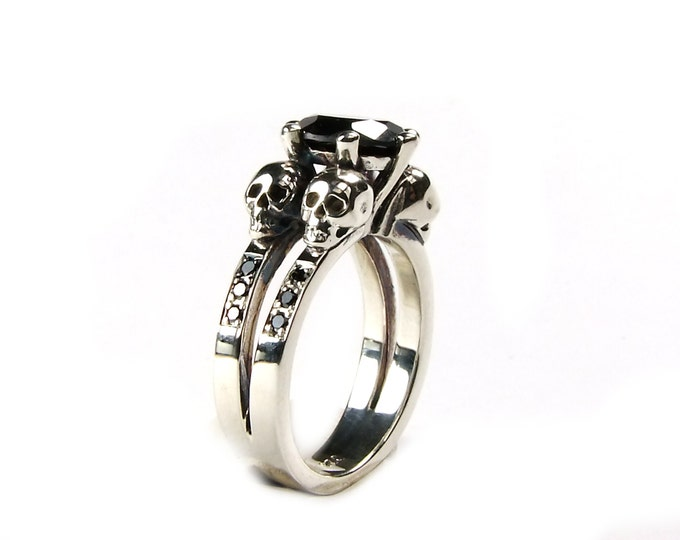 Double Skull Engagement Ring with Natural Black Gemstone and Diamond Bands in Sterling Silver - All Sizes