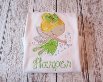 Cutie Princess Fairy Appliqued Shirt - Embroidered, Personalized, Monogram, Princess, Fairy, Girls Fairy Shirt, Girls Princess Shirt