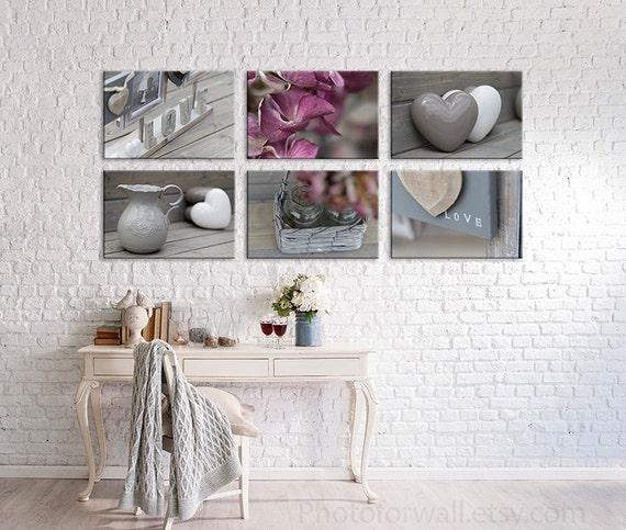 Bathroom decor in soft pink and grey with a set of 6 prints for Red and grey bathroom accessories