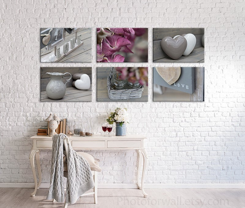 Bathroom decor in soft pink and grey with a set of 6 prints for Pink and gray bathroom sets