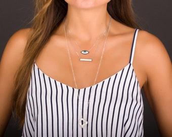 Evil Eye Necklace, Sterling Silver Evil Eye Necklace, Kabbalah Jewelry, Silver Layered Necklace, Nazar Necklace, Evil Eye Pendant | 0237NM