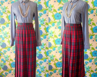 "The ""Freya"" Women's Vintage Red, Black, Green Check Plaid Long, 100% Wool Pleated School-Girl Maxi Skirt Sz. 4"