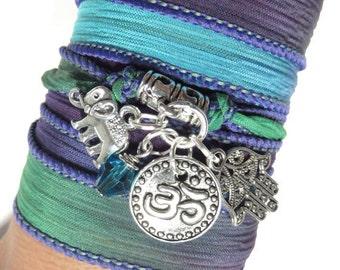 Namaste Hamsa Yoga Jewelry Silk Wrap Bracelet Elephant, Om Jewelry Bohemian Spiritual Wrapped Bracelet Hamsa Hand Of Fatima Gift For Her