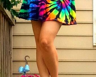 Tie-dye Mini Skirt- Inverted Rainbow Skater Skirt