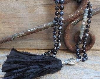 Beaded sari silk tassel necklace Boho jewelry Black tassel necklace Unique romantic victorian handmade jewelry Vintage silk necklace