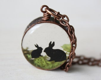 Mama Bunny, real moss copper necklace