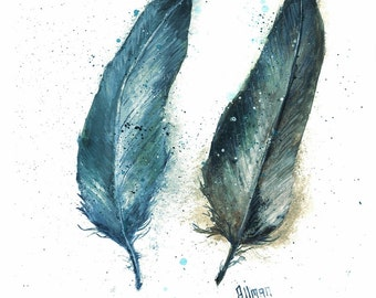 Original Feather Watercolor Print, Watercolor Feather Painting, Feather Series Two Feathers Blues, Turkey Feathers