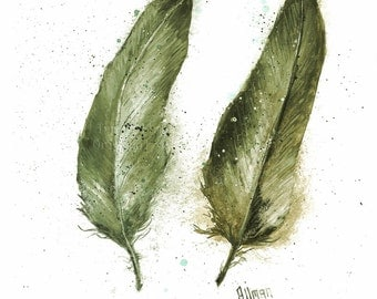 Original Feather Watercolor Print, Watercolor Feather Painting, Feather Series Two Feathers Greens, Turkey Feathers
