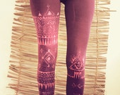 TRIBAL LEGGINS handpainted purple pink yoga boho ethnic