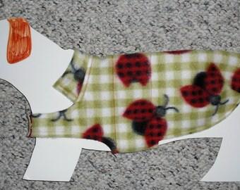 "Reversible Fleece Dog Coat for Mini Dachshund Doxie Chiweenie (xs, long 7-10 lb/ 15.5"" girth) Cute as a Ladybug"