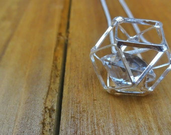 Silver Crystal Geometric Necklace