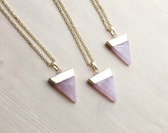 Gold Dipped Rose Quartz Geometric Necklace
