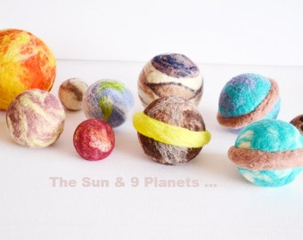 Pluto set, The Sun & 9 Planets. Solar System Toys. Learning about Space. Art toys, wool, needle felted toys, Science, by wooly topic