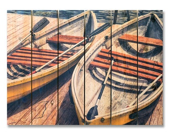 33x24 Weekend Outing on Cedar, Retro Boats at the Lake, Outdoor Safe Wall Hanging Art (WO3324)