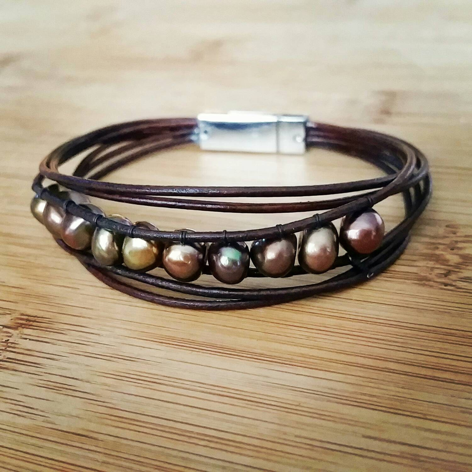 Leather Wrap Charm Bracelet: Leather Pearl Bracelet Wrap Bracelet Leather Pearl Jewelry