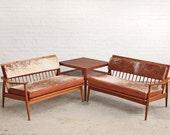 PAIR Mid Century Cowhide Sofas Wood Frame