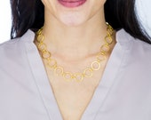 Gold Circle Link Chain Necklace, Gold Link Statement Necklace, Gold Large Chain Necklace