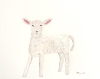 Baby lamb art animal painting farm animal art 12 x 9 inches