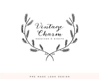 "Pre Made Logo Design - Boutique Logo - Photographer Logo - Small Business Logo by Calligraphy ""Vintage Charm"""