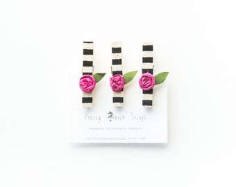 French-inspired Mini Clothespin Magnet set- black and white stripes with pink rosebuds