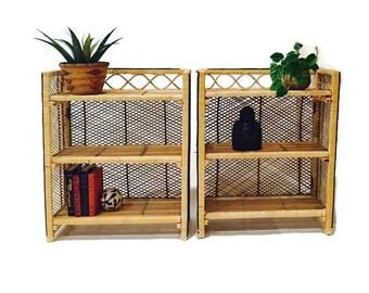 Vintage Rattan Bookcase Bamboo Pair Matching Set Bohemian Furniture Boho Shelving Collapsible 3 Tiered Shelf Boho Baja Surfer Storage Set